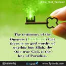 The testimony of the Oneness (Tawheed) that there is no god worthy of worship but Allah, the One true God, is the key of Paradise.