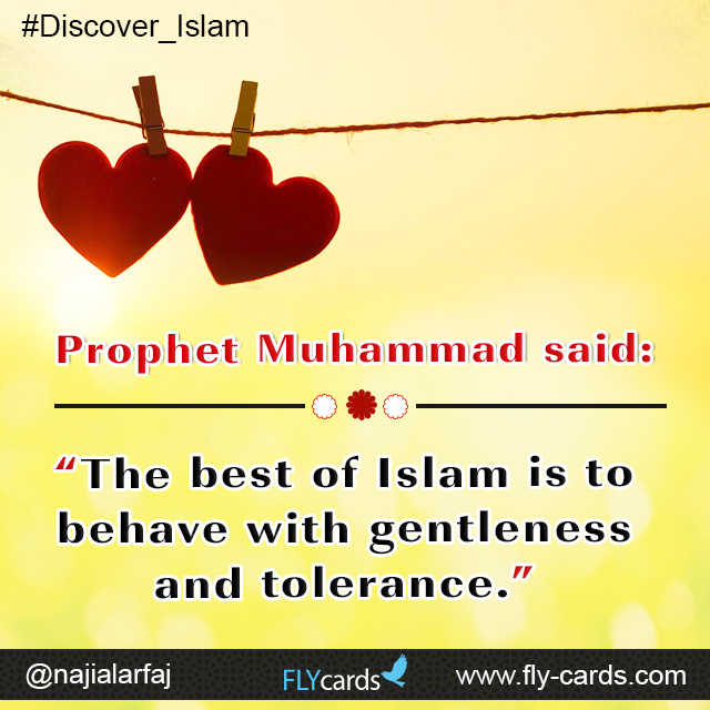 """Prophet Muhammad said: """"The best of Islam is to behave with gentleness and tolerance."""""""