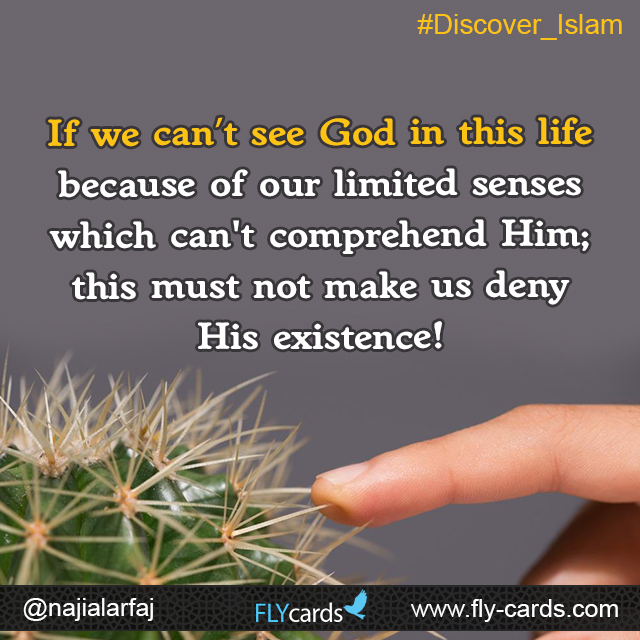 If we can't see God in this life because of our limited senses which can't comprehend Him; this must not make us deny His existence!
