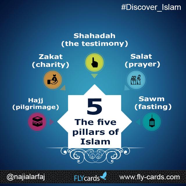 The five pillars of Islam: Shahadah (the testimony), Salat (prayer), Zakat (alms giving),  Sawm (fasting), and Hajj (pilgrimage).