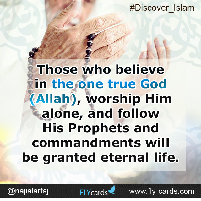 Those who believe in the one true God (Allah), worship Him alone, and follow His Prophets and commandments will be granted Paradise.