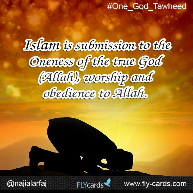 Islam is submission and obedience to the Oneness of the true God (Allah), the Creator.