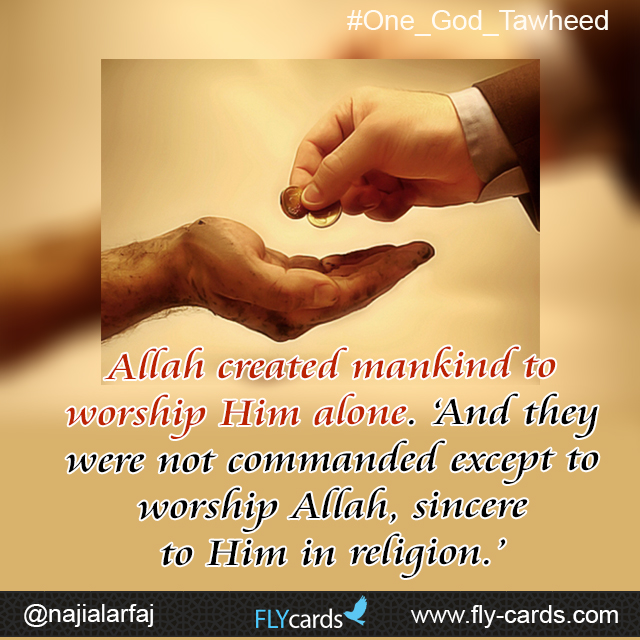 Allah created mankind to worship Him alone. 'And they were not commanded except to worship Allah, sincere to Him in religion.'