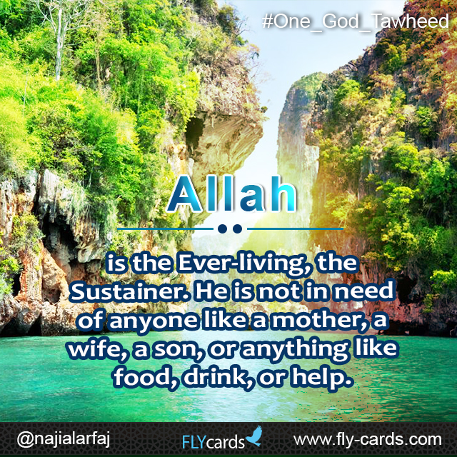 Allah is the Ever-living,the Sustainer. He is not in need of anyone like a mother, a wife, a son,or anything like food, drink, or help.