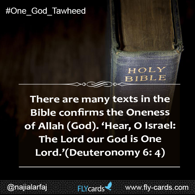 There are many texts in the Bible confirms the Oneness of Allah (God). 'Hear, O Israel: The Lord our God is One Lord.' (Deuteronomy 6: 4)