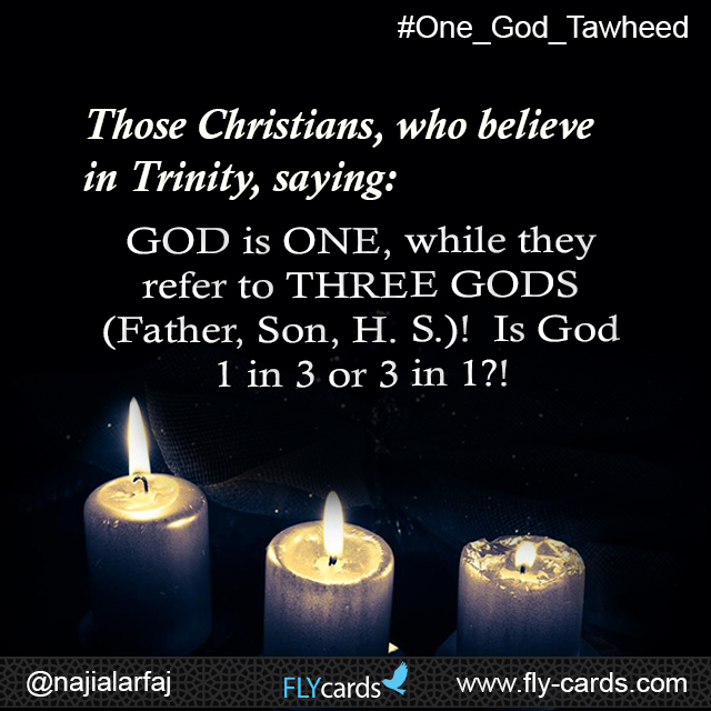 Those Christians, who believe in Trinity ,saying :GOD is ONE, while they refer to THREE GODS (Father ,Son, H. S.)! Is God 1 in 3 or 3 in 1?!