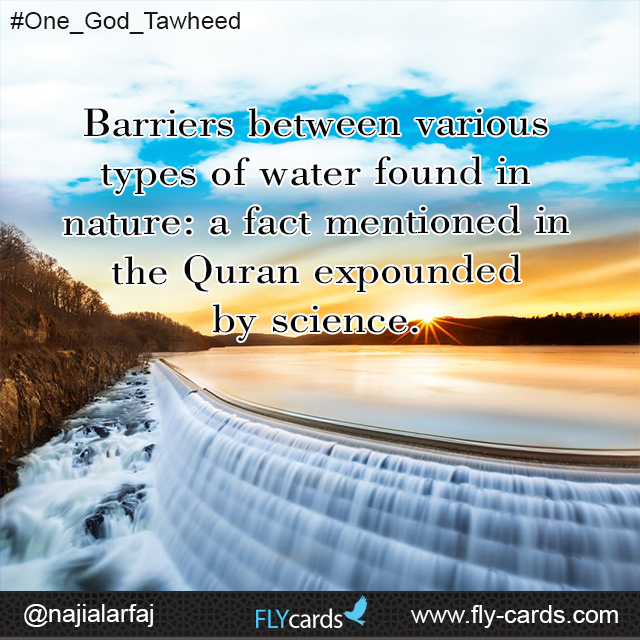 Barriers between various types of water found in nature: a fact mentioned in the Quran expounded by science.