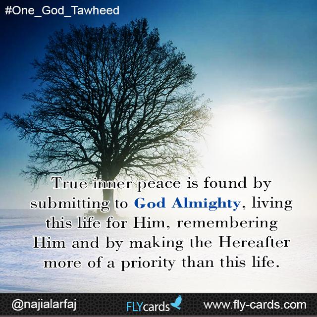 True inner peace is found by submitting to God Almighty, living this life for Him, remembering Him and by making the Hereafter more of a priority than this life.