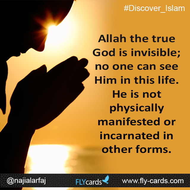 Allah the true God is invisible; no one can see Him in this life. He is not physically manifested or incarnated in other forms.