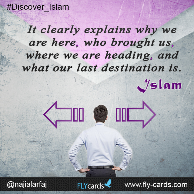 Islam clearly tells us why we are here, who brought us, where we are heading, and what our last destination is!