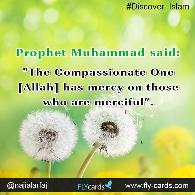 """Prophet Muhammad said:  """"The Compassionate One [Allah] has mercy on those who are merciful""""."""