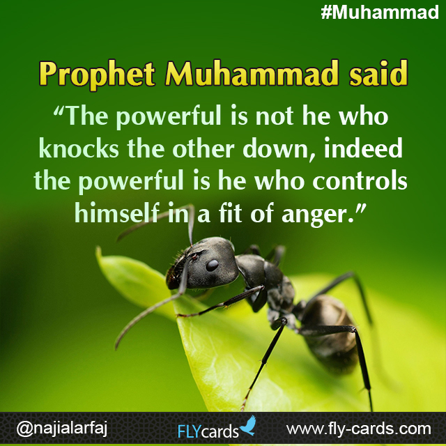 """Prophet Muhammad said: """"The powerful is not he who knocks the other down, indeed the powerful is he who controls himself in a fit of anger."""""""